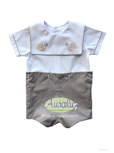 Auraluz Boy Button-On..Brown check with sq.collar and embroidered turkeys. STORE EXCLUSIVE!