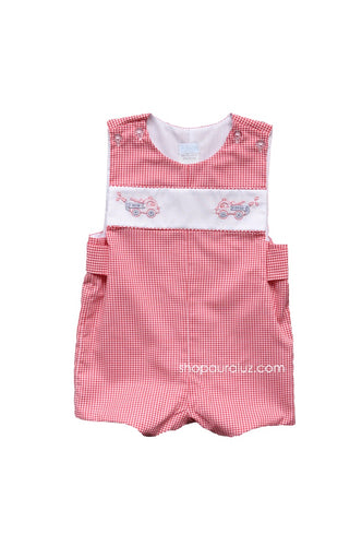 Auraluz Sleeveless Shortall..Red check with embroidered fire trucks. STORE EXCLUSIVE!