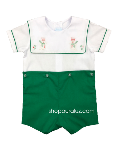 Auraluz Boy Button-On with green binding trim/pant and embroidered snowmen