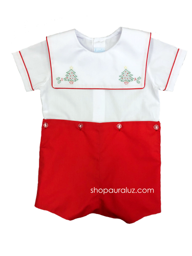 Auraluz Boy Button-On with red binding trim/pant and embroidered trees