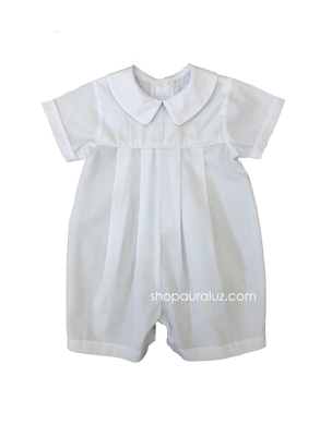 Auraluz Boy Shortall..White with boy collar and embroidered white crosses