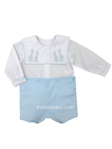 Auraluz Boy Button-On..long sleeve...Blue with embroidered giraffes