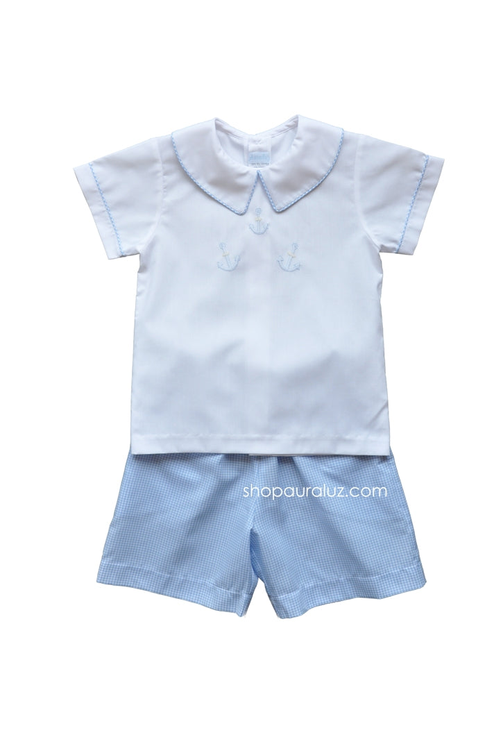 Auraluz Boy 2pc..Blue check with boy collar and embroidered anchors