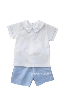 Auraluz Boy 2pc..Blue check with boy collar and embroidered cars