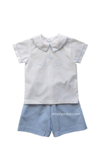 Auraluz Boy 2pc..Blue check with boy collar and embroidered bunnies