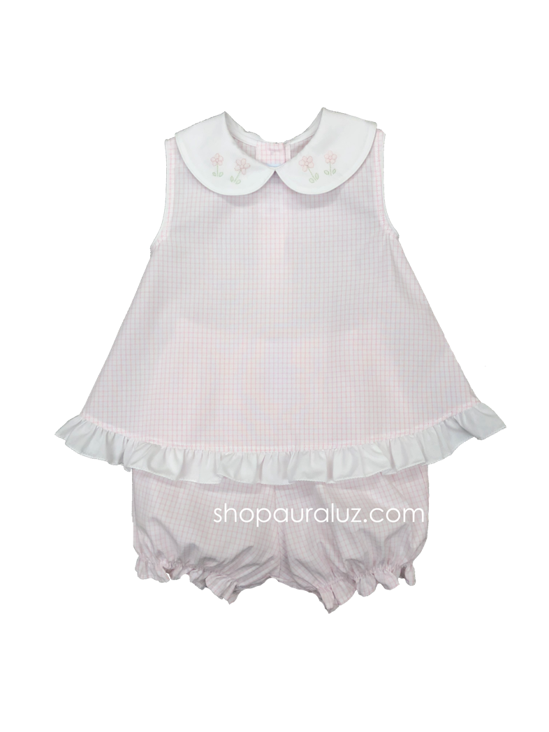 Auraluz Girl Sleeveless 2pc Set..Pink window pane with embroidered flowers