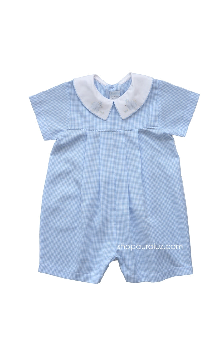 Auraluz Boy Shortall..Blue check with boy collar and embroidered bunnies