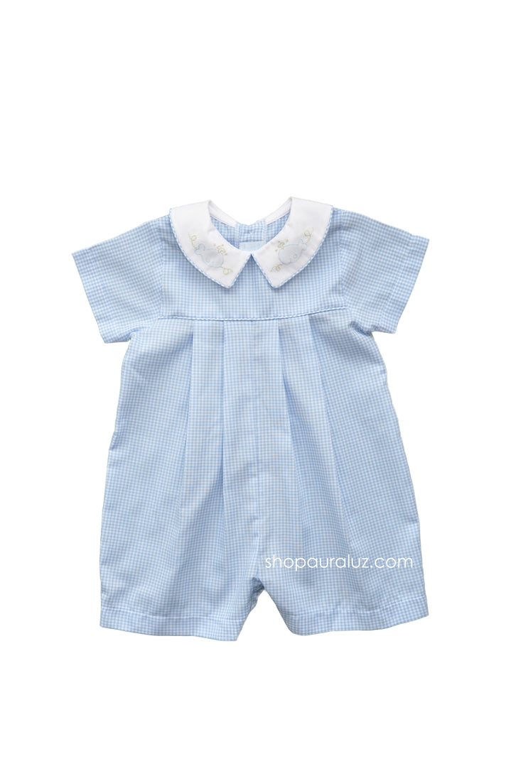 Auraluz Boy Shortall..Blue check with boy collar and embroidered whales