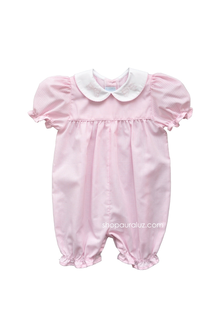 Auraluz Girl Shortall..Pink check with p.p. collar and embroidered bows