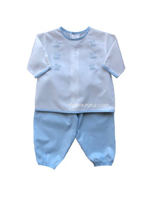 Auraluz Boy 2pc Set..l/s.Blue/White with embroidered turtles