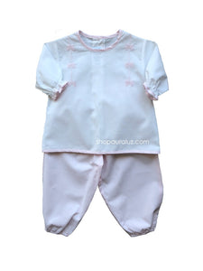 Auraluz Girl 2pc Set..l/s.Pink/White with embroidered ribbon bows