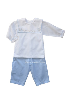 Auraluz Boy 2pc...White l/s shirt/blue check pant with embroidered horses