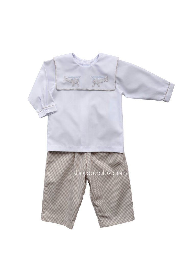 Auraluz Boy 2pc...White l/s shirt/khaki check pant with embroidered airplanes