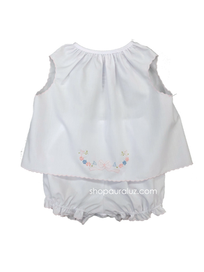 Auraluz Girl Sleeveless 2pc Set...White with pink scallop trim and embroidered bow