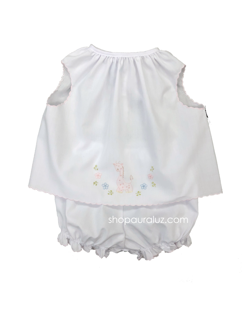 Auraluz Girl Sleeveless 2pc Set...White with pink scallop trim and embroidered giraffe