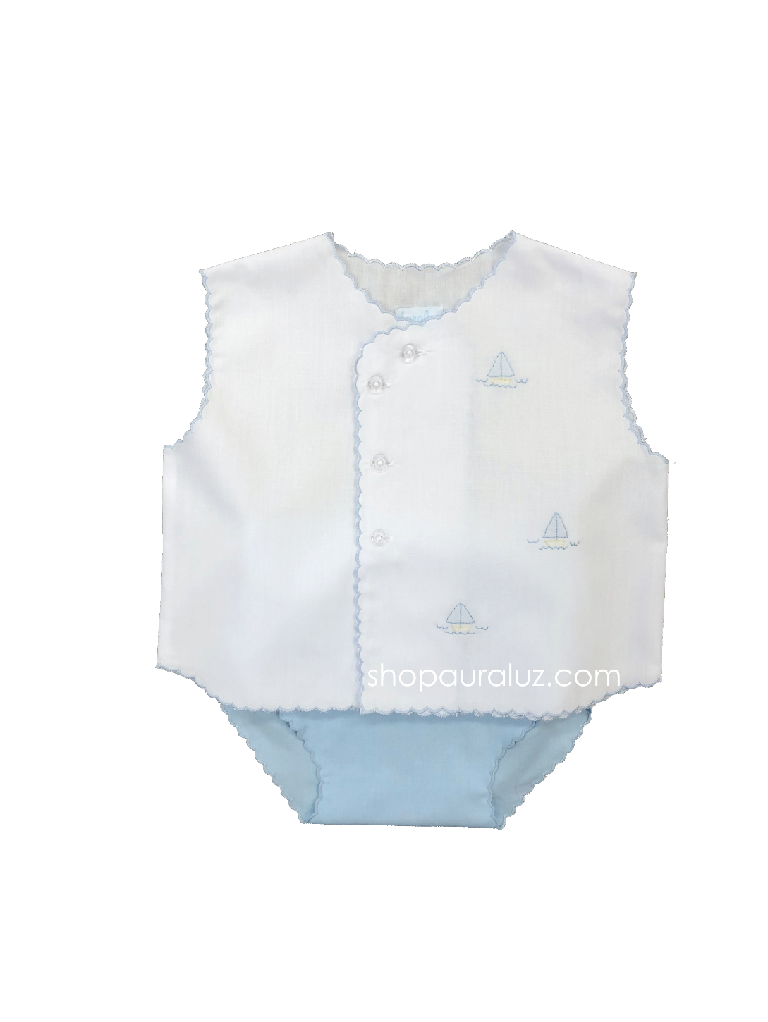 Auraluz Sleeveless Diaper shirt/cover set...White with blue scallops(blue diaper cover) and embroidered boats