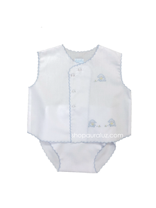 Auraluz Sleeveless Diaper shirt/cover set...White with blue scallops and embroidered tiny lambs