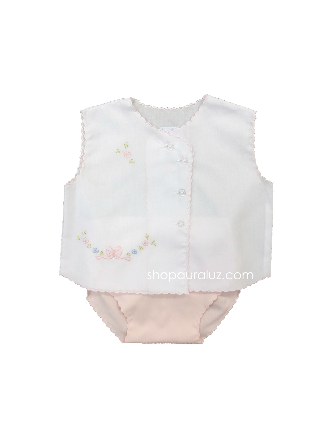 Auraluz Sleeveless Diaper shirt/cover set...White with pink scallops(pink diaper cover) and embroidered bow