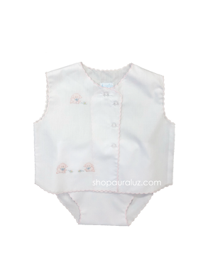 Auraluz Sleeveless Diaper shirt/cover set...White with pink scallops and embroidered tiny lambs