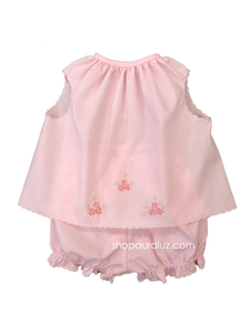 Auraluz Girl Sleeveless 2pc Set...Pink with pink scallop trim and embroidered flowers