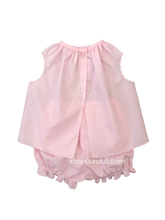 Load image into Gallery viewer, Auraluz Girl Sleeveless 2pc Set...Pink with pink scallop trim and embroidered flowers