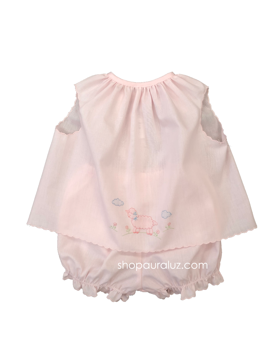 Auraluz Girl Sleeveless 2pc Set...Pink with pink scallop trim and embroidered lamb