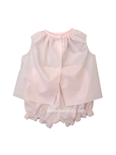 Load image into Gallery viewer, Auraluz Girl Sleeveless 2pc Set...Pink with pink scallop trim and embroidered lamb