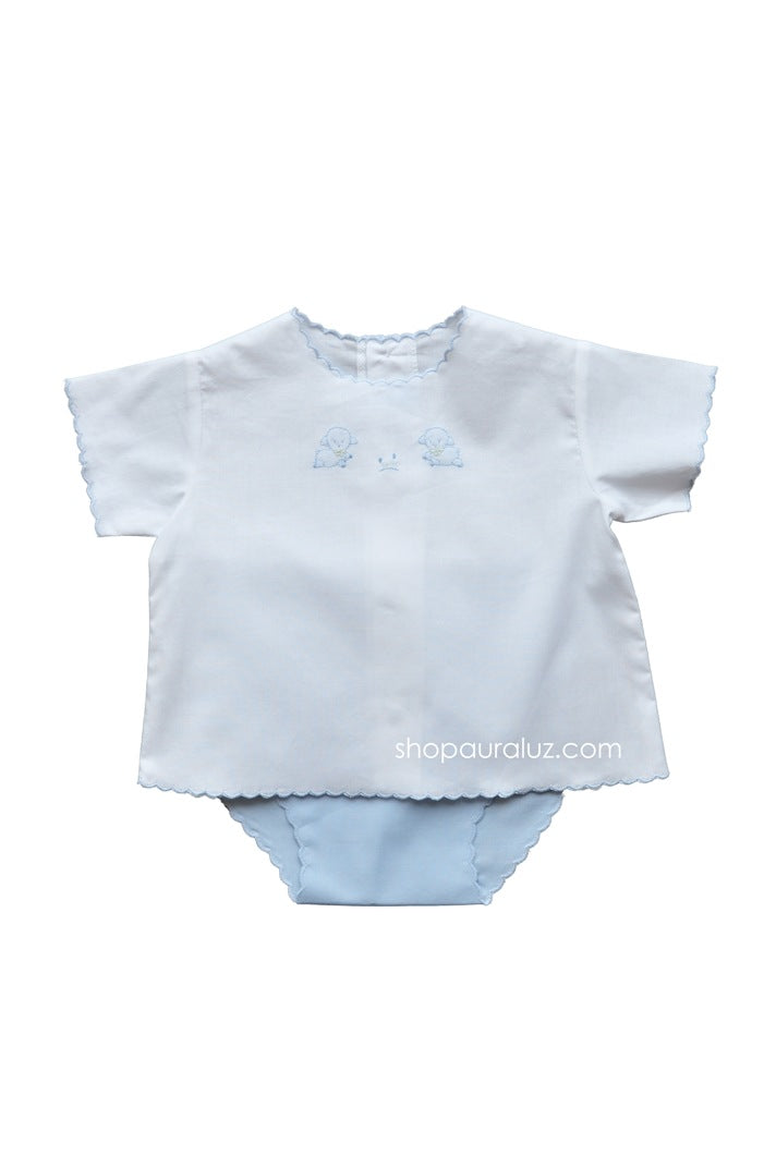 Auraluz 2pc Diaper Set...White/blue with blue scallops and embroidered tiny lambs
