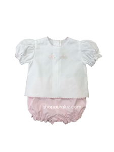 Auraluz 2pc Diaper Set...White/pink with pink scallops and embroidered bows