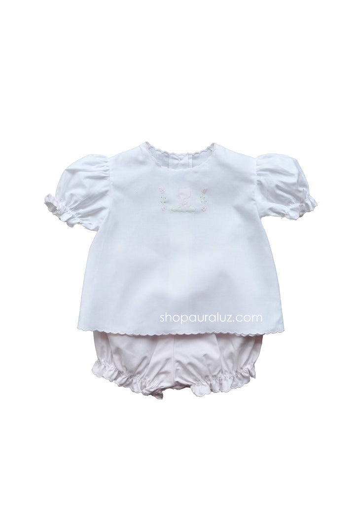 Auraluz 2pc Diaper Set...White/pink with pink scallops and embroidered ducks