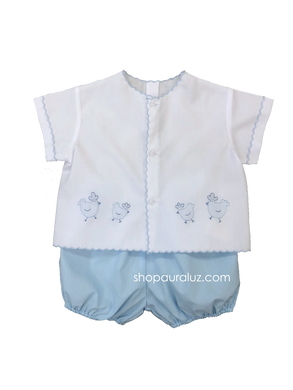 Auraluz Diaper shirt/bloomer set...White with blue scallops(blue bloomers) and embroidered chickens