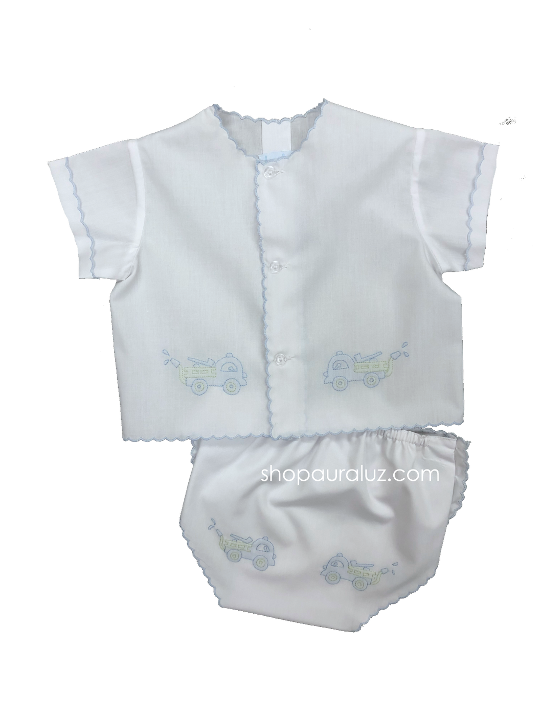 Auraluz Diaper shirt/cover set...White with blue scallops and embroidered fire trucks