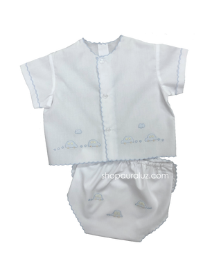 Auraluz Diaper shirt/cover set...White with blue scallops and embroidered cars
