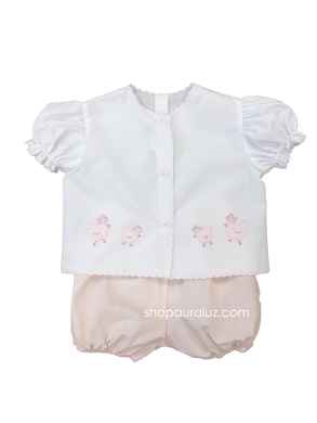 Auraluz Diaper shirt/bloomer set...White with pink scallops(pink bloomers) and embroidered chickens