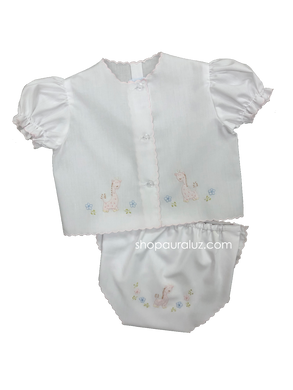 Auraluz Diaper shirt/cover set...White with pink scallops and embroidered giraffe
