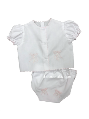 Auraluz Diaper shirt/cover set...White with pink scallops and embroidered bows