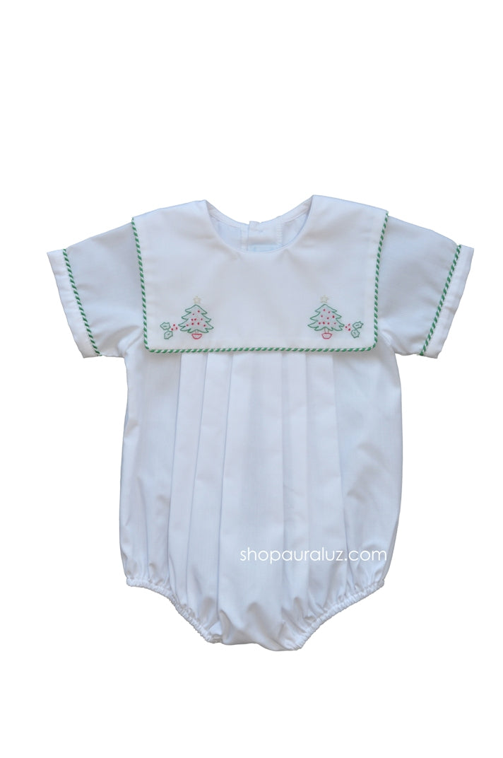 Auraluz Boy Bubble...White w/shiny cord trim,square collar and embroidered trees