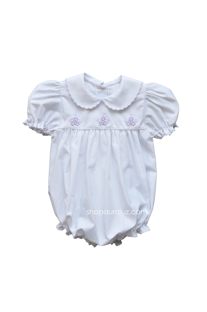 Auraluz Girl Bubble...White with lavender scallop trim and embroidered flowers