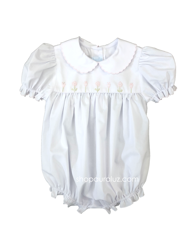 Auraluz Girl Bubble...White with pink scallop trim and embroidered tulip flowers