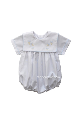 Auraluz Boy Bubble..White with blue binding trim and embroidered ice cream cones