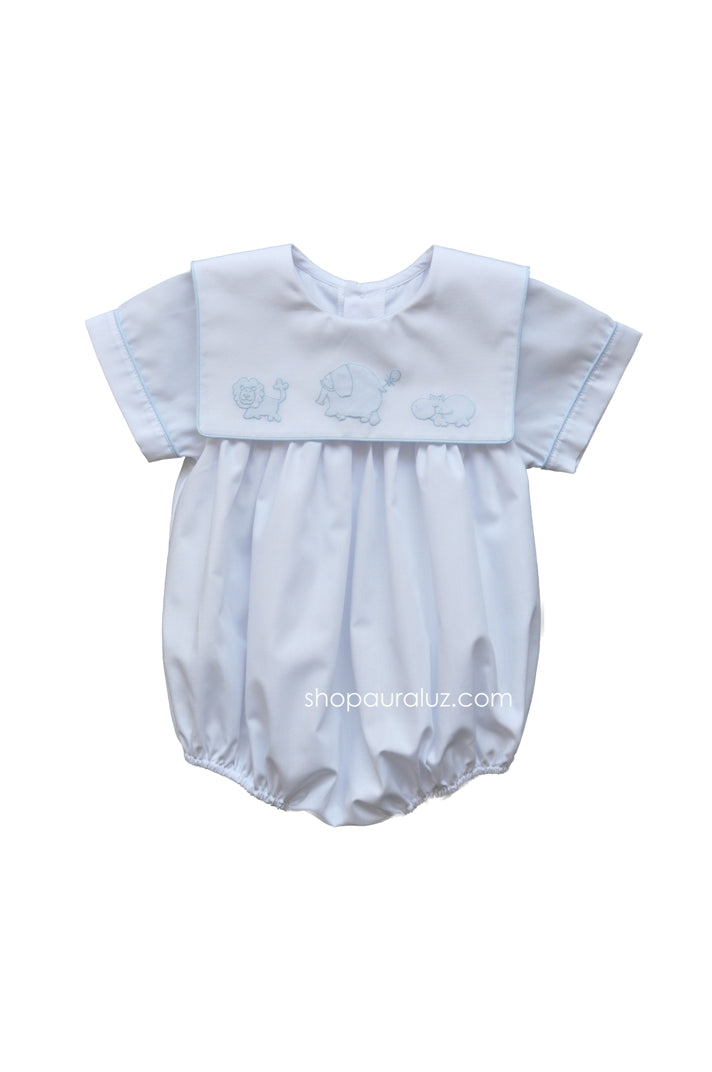 Auraluz Boy Bubble..White with blue binding trim and embroidered safari animals