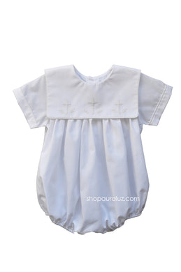 Auraluz Boy Bubble..White with ecru binding trim and embroidered crosses