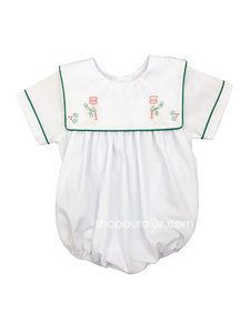 Auraluz Boy Bubble..White with green binding trim and embroidered snowmen