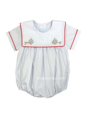 Auraluz Boy Bubble..White with red binding trim and embroidered trees