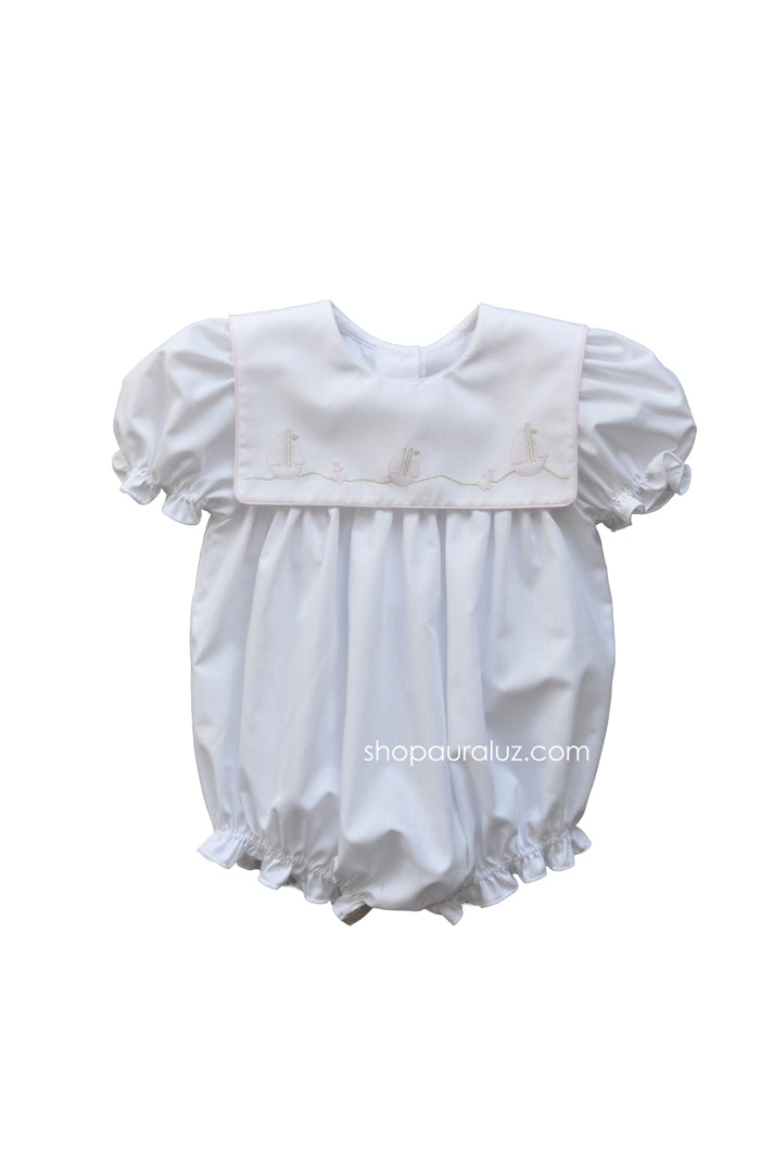 Auraluz Girl Bubble..White with pink binding trim and embroidered boats