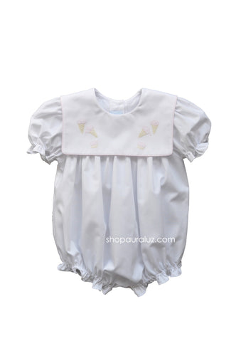Auraluz Girl Bubble..White with pink binding trim and embroidered ice cream