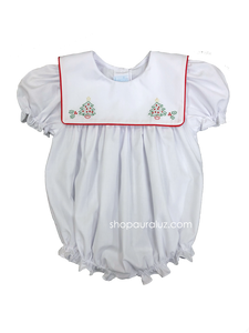 Auraluz Girl Bubble..White with red binding trim and embroidered trees