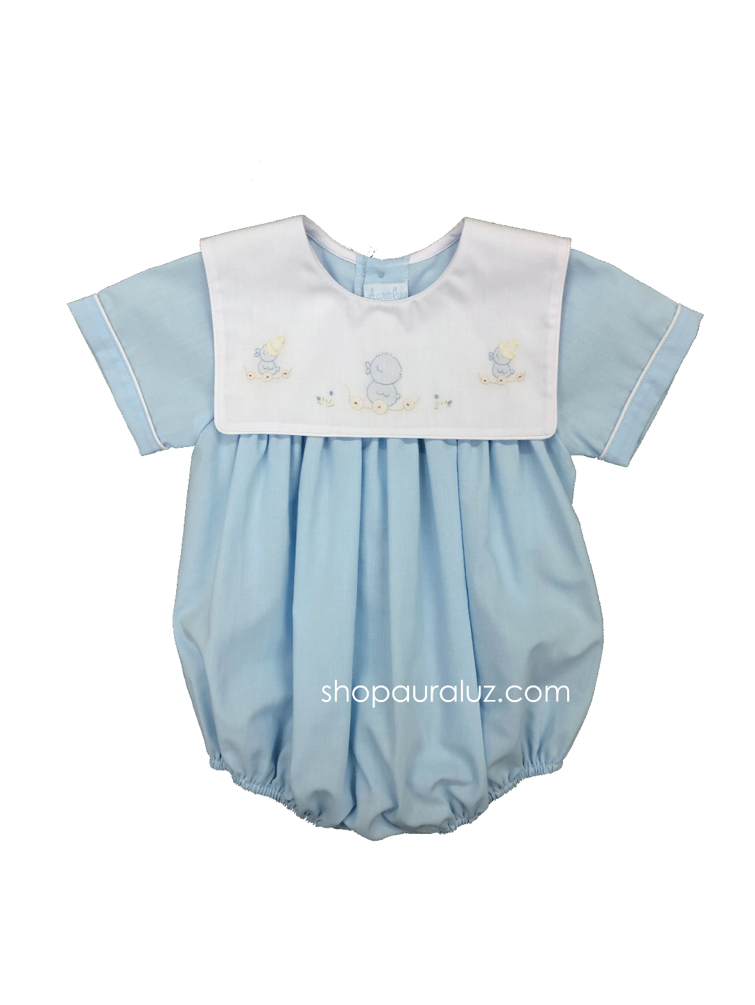 Auraluz Boy Bubble..Blue with embroidered ducks