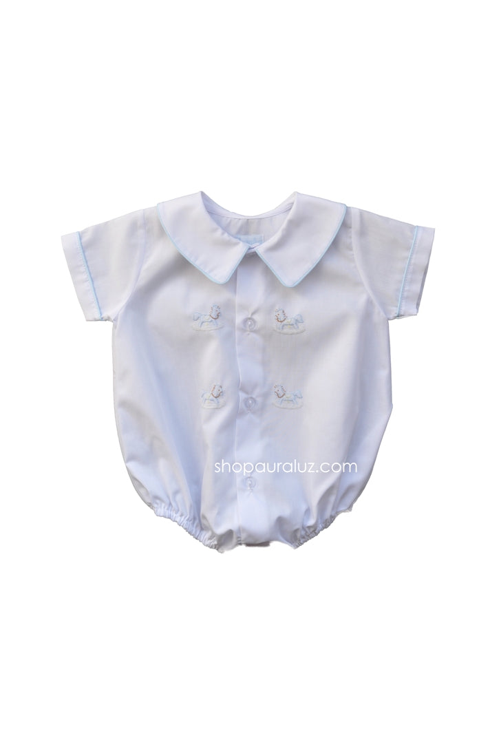 Auraluz Boy Bubble/Button-Front..White w/blue binding trim and embroidered horses