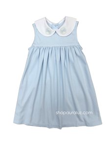 Auraluz Knit Sleeveless Dress..Blue with white p.p. collar and embroidered ribbons. STORE EXCLUSIVE!